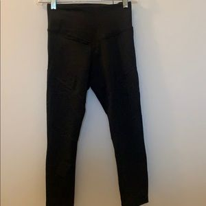 NWT L'urv crop black legging with mesh detail